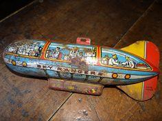 Vintage Antique Sky Ranger Zeppelin Litho Toy Tin Blimp Rusty Tin No Reserve   eBay
