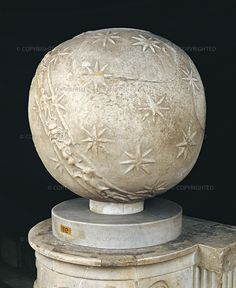 Celestial sphere, 1st century Vatican City, Musei Vaticani, inv. 784  This large sphere is spanned by the band of the zodiac, with the images of the 12 signs. Stars are scattered over its surface at random.