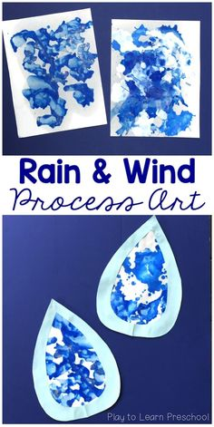 Use paint and straws to make adorable spring process art raindrops. Children will enjoy the process, and their parents will enjoy the finished product! art for toddlers Rain and Wind Process Art for Spring April Preschool, Preschool Weather, Preschool Crafts, Spring Preschool Theme, Spring Art Projects, Spring Crafts For Kids, Art For Kids, Art Children, Art For Toddlers
