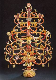 Mexican Tree of Life candelabra attributed to Aurelio Flores.