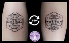 Tatuaggio faccia reversibile, faccia sotto sopra - reversible face Tattoo inversion illusion, optical illusions, upside down pictures, reversible illusion - Adam Raia - Violet Fire Tattoo & Piercing - tatuaggi maranello, tatuaggi modena, tatuaggi sassuolo, tatuaggi fiorano, tatuaggio nichel free, tatuaggio senza nichel, tatuaggio vegano, nickel free tattoo, vegan tattoo, italian tattoo, tatto italy, tattoo maranello, tattoo modena, tatuaggi emilia tattoo, tatuaggi emilia romagna tattoo…