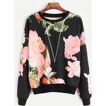 SheIn(sheinside) Black Flower Print Topstitch Sweatshirt