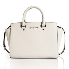 Michael by Michael Kors - White Leather Large Selma Tote Michael Kors Purses Outlet, Michael Kors Clutch, Handbags Michael Kors, Michael Kors Bedford, Mk Handbags, Bag Sale, Juicy Couture, Fashion Bags, Tote Bag
