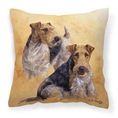 Carolines Treasures Fox Terriers by Michael Herring Canvas Square Decorative Pillow - HMHE0180PW1414