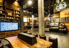 The Starbucks at Disneyland's Downtown Disney District features technology designed specifically for this store, including a first-of-its-kind interactive touch screen to inspire play and creativity for visitors of any age.