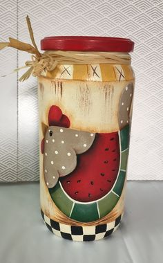 Diy Arts And Crafts, Wood Crafts, Fall Crafts, Diy Crafts, Bottle Painting, Bottle Art, Mason Jar Crafts, Bottle Crafts, Chicken Painting