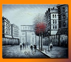Black & White With Red Tree Paris Street Arc De Triomphe Oil Painting Canvas Art On Canvas , oLo PCS003(China (Mainland))
