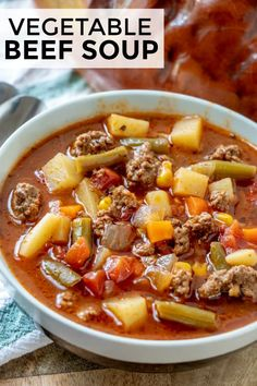 When it comes to comfort this Vegetable Beef Soup is where it's at. With a short… When it comes to comfort this Vegetable Beef Soup is where it's at. With a short list of ingredients this easy soup is delicious, hearty and satisfies the family! Vegetable Noodle Soup, Vegetable Soup With Chicken, Vegetable Soup Recipes, Chicken And Vegetables, Chicken Soup, Vegetable Soup Seasoning, Vegtable Beef Soup, Crockpot Vegetable Beef Soup, Homemade Vegetable Soups
