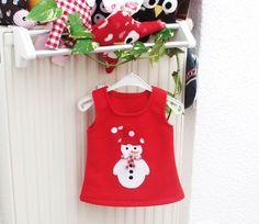 """Hängerchen/Tunika      """"Schneemann""""      super süß ist diese rote Tunika mit dem Schneemann drauf. Einfach zum drüber ziehen. ♥♥    genäht aus Fleeces"""