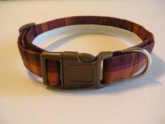 Handmade Cotton Dog Collar - Purple and Orange Plaid by WalkingTheDog on Etsy