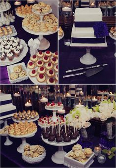 plum and gold cakes and sweets