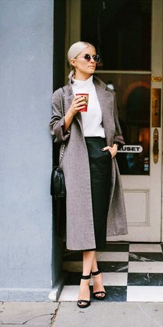 Long Skirt with long Coat is just Perfect for Work |||| Winter Work Outfits || Casual Winter Work Outfit Ideas || Work Outfits || 55 Decent Winter Work Outfits to Try Right Now