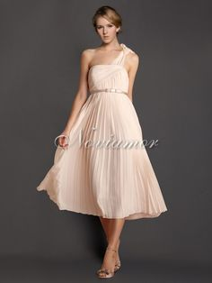 One Shoulder Pleated Calf Length Bridesmaids Dress 2017 With Belt Nb2002 Strap
