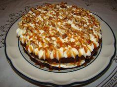 Prajitura cu nuca si caramel – Flori's Kitchen Pavlova, Cake Cookies, Tiramisu, Caramel, Cheesecake, Food And Drink, Pie, Cooking Recipes, Sweets