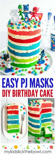 PJ Maks Birthday Cake an Easy DIY layered birthday cake idea for a little boys o. PJ Maks Birthday Cake an Easy DIY layered birthday cake idea for a little boys or little girls birt Pj Masks Birthday Cake, Little Girl Birthday Cakes, Make Birthday Cake, Homemade Birthday Cakes, Birthday Cake Decorating, First Birthday Cakes, Birthday Boys, Dinosaur Birthday, Toddler Birthday Foods