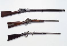 Civil War Rifles and Carbines: From top to bottom: a Colt Model 1853 rifle used by sharpshooters, a Sharps carbine and a Burnside carbine, invented by Union General Ambrose Burnside. (Photo Credit: Tria Giovan/CORBIS)