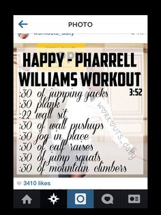 Happy: one song workout.totally into these kind of one song workouts:) One Song Workouts, Workout Songs, At Home Workouts, Morning Workouts, Cheer Workouts, Mini Workouts, Killer Workouts, Yoga Workouts, Good Fats