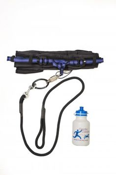 The Cardio Canine hands-free dog leash was designed by a runner with good running mechanics in mind. It straps around the runner's waist and includes features like a quick-release snap, water bottle and storage pouch. Great idea!