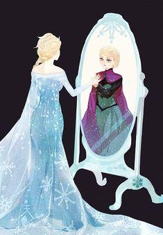 Tags: Anime, Mirror, Reflection, Disney, Different Reflection, Pixiv Id 1341749, Frozen (Disney)