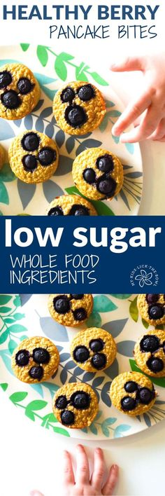 healthy+blueberry+banana+pancake+muffin+bites.+easy+breakfast+recipe+or+healthy+lunch+box+suitable+for+baby+led+weaning.+Low+in+sugar