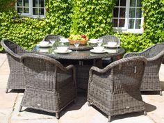 oakita capri 6 seat grey rattan garden furniture 15 metre round table dining set main image