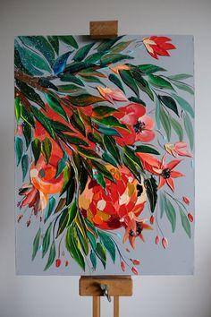 Flower Canvas, Flower Art, Watercolor Illustration, Watercolor Art, Canvas Painting Designs, Surrealism Painting, Arte Popular, Wall Art Designs, Art Drawings