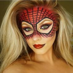 Halloween Spider-Man inspired look ❤️ Products I used: Face @maccosmetics NC35 studio fix + @blankcanvascosmetics contour palette  Mask: @makeupstore Red blush + red glitter @inglotireland black gel liner #77 as the web. Lips: black pencil liner + @sleekmakeup matte me red lip cream #tudoparachicas #mikasbeauty #brian_champagne #universodamaquiagem_oficial #amazingmakeupart #inglotaddict #spiderman #Undiscovered_Muas
