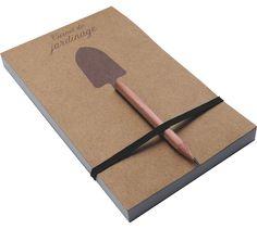 Carnet de Jardinage - Papier 100% recyclé, crayon en bois, fabriqué en Midi-Pyrénées - Design de Stéphane Clivier pour Reine Mère
