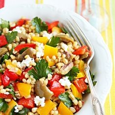 Wheat Berry, Green Olive and Roasted Pepper Salad with Lemon Zest Vinaigrette #foodgawker