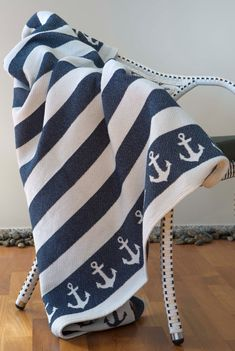 "Modern and stylish Picnic and family beach blanket ""Anchor"", 100% cotton outdoors food blanket-ready to ship!wedding gift idea!"