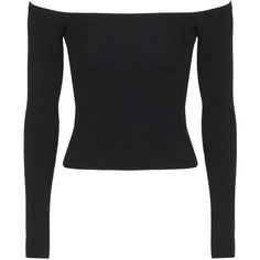 TopShop Clean Bardot Off-the-Shoulder Top (600 MXN) ❤ liked on Polyvore featuring tops, shirts, long sleeves, topshop, crop tops, black, off the shoulder crop top, shirt crop top, off the shoulder shirts and off shoulder long sleeve top