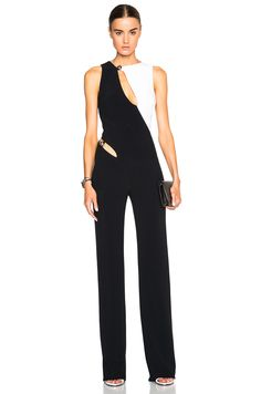 Mugler Bi Color Fitted Cady Jumpsuit in Black & Off White $2630, available here: rstyle.me/n/bhvndrmtu6