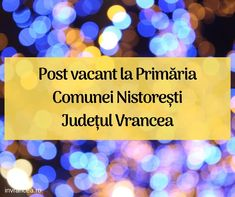 "Post vacant la Școala Gimnazială ""Valeriu D."