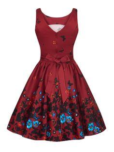 Vínové retro šaty s motýlky Lady V London Tea 36 | BlankaStraka.cz