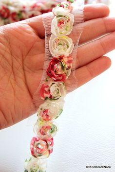Colourful Rose One Yard Lace Trims 4 cm Wide by KnicKnackNook