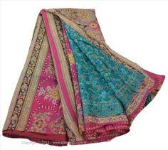 VINTAGE INDIAN SAREE PRINTED FABRIC PURE SILK SARI CRAFT SOFT 5 YARD PINK BLUE #sanskritivintage