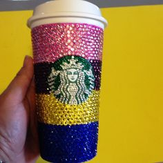 Bling Starbucks cup This is a reusable Starbucks cup 16 full oz it has four different colors. the lid has no rhinestones on it if you want rhinestones on the lid you must buy the cup first do not put in dishwasher Starbucks Accessories