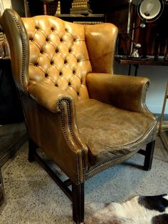 Exceptionnel Edwardian Leather Studded Wingback Chair C. 1910.