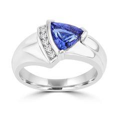 La Vita Vital 18k White Gold Trillion-cut Tanzanite and 1/10ct TDW Diamond Ring