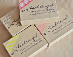 Cute idea to stamp Kraft boxes and add a piece of washi tape, personal yet inexpensive :::: Pretty Packaging Inspiration + Link Up Kraft Packaging, Soap Packaging, Pretty Packaging, Jewelry Packaging, Packaging Design, Packaging Ideas, Soap Labels, Label Design, Box Design