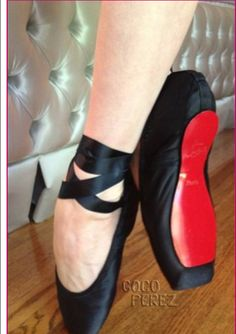 Louboutin ballet slippers custom-made for Dita Von Teese. Tres chic!