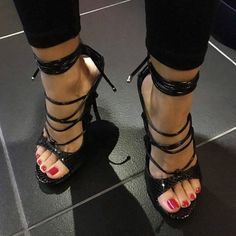 Feminine stylish chic #blackhighheelsstrappy