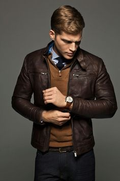 leather jacket & cardigan