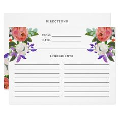#bridal #shower #invitations - #Peach Purple Mint Green Floral Blooms Recipe Card