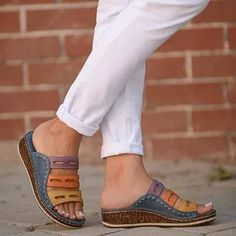 2019 Chic Summer Women Lady Fashion Three color Stitching Color Casual Low Wedge Heel Beach Open Peep Toe Sandals Slippers Shoes-in Low Heels from Shoes on AliExpress - Day Simple Sandals, Wedge Sandals, Shoes Sandals, Summer Sandals, Slide Sandals, Dress Shoes, Boho Sandals, Sandals Outfit, Summer Shoes