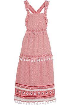 Dodo Bar Or - Embellished Lace-trimmed Cotton-jacquard Midi Dress - Crimson -