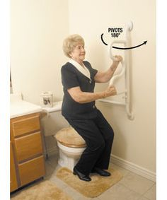 Steady yourself when you bathe using this shower grab bar. The curved grab bar pivots and locks in place every 45 degrees to provide lift assist for various heights. This bathroom safety bar will give Ada Bathroom, Handicap Bathroom, Bathroom Safety, Modern Bathroom, Small Bathroom, Aide Handicap, Grab Bars In Bathroom, Simple Bathroom Designs, Elderly Care