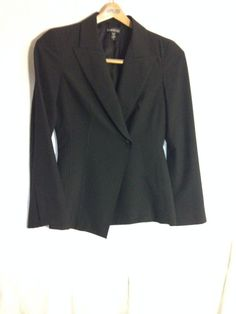"Bebe Black womens blazer size 8 , 26 "" long detail stitching on front,  #bebe #Blazer"