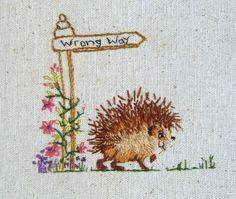 Jenny McWhinney Designs — Little Hedgehog, Wrong Way Wool Embroidery, Japanese Embroidery, Silk Ribbon Embroidery, Embroidery Stitches, Embroidery Patterns, Hedgehog Cross Stitch, Flower Embroidery Designs, Thread Painting, Needlework