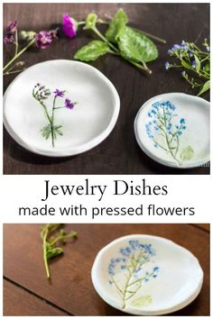 Learn how to make your own pressed flower jewelry dish from polymer clay, a few flowers from your yard and craft paint. Another great handmade gift idea. flowers ideas Pressed Flower Jewelry Dish Made With Flower Right Out Of Your Garden Diy Clay, Clay Crafts, Crafts To Make, Magic Crafts, Kids Crafts, Handmade Headbands, Handmade Crafts, Handmade Ideas, Art And Craft Videos